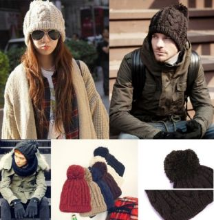 Fashion Winter Warm Beanie Knitted Ski Hat Cap Warmer Knitted Ladies Hats