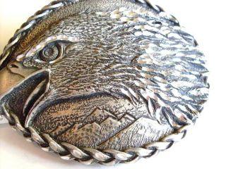 Huge Heavy Silver Plated American Bald Eagle Head Belt Buckle Nice 1993 USA