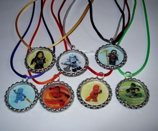 14 Lego Ninjago Necklace with Matching Color Cords Birthday Party Favors