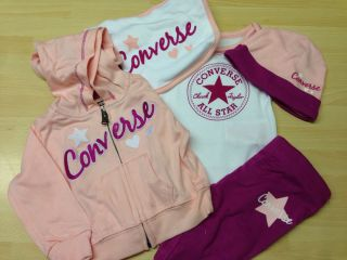 Converse All Star Baby Girls 5 Piece Tracksuit Jog Suit Clothes Gift Set Bundle