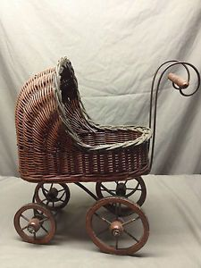 Vintage Baby Doll Stroller Carriage Basket Moving Wheels Woven Wicker