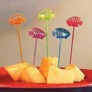 72 Tropical Fish Food Picks Luau Tiki Party Cupcake Decorations