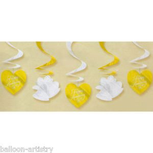 5 Gold Silver Happy Anniversary Hearts Bells Hanging Foil Swirl Decorations