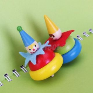Kids Children Smile Clown Colorful Wooden Spinning Top Toy Party Favor Gift Fun