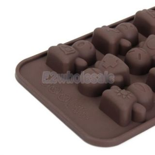 10x 12 Holes Silicone Chocolate Jelly Candy Cake Ice Cube Mold Tray Mood Face