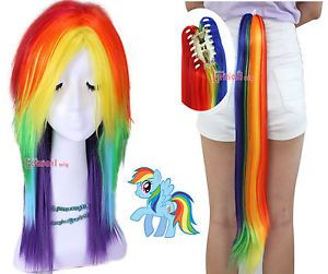 Hot Cosplay My Little Pony Rainbow Dash Multi Color Synthetic Party Wig Tail Set