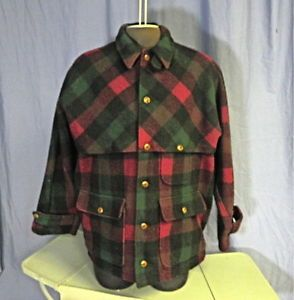 LG Vintage Polo Ralph Lauren Sportsman Wool Plaid Hunting Fishing Coat Jacket XL