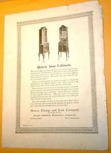 Shreve Crump Low Boston MA 1925 Ad Selling Furniture Queen Anne Cabinets Tremont