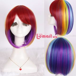 Synthet Heat Resistant 30cm Short Rainbow Bob Cosplay Party Wig ML181 A Wig Cap