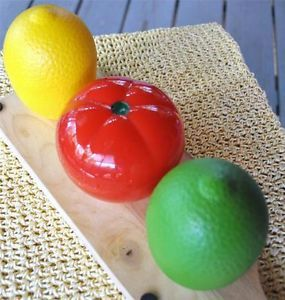 3 Hutzler Tomato Lemon Lime Food Keeper Container Vegetable Refrigerator Storage
