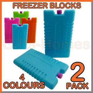 2pk Freezer Blocks Drinks Food Cooler Bags Camping Picnic Travel Ice Boxes Packs