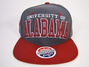 Alabama Crimson Tide Snapback Hat Red Gray Block Logo Zephyr Football NCAA
