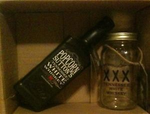 "Popcorn Sutton Tennessee White Whiskey ""Empty"" Original Mason Jar and New Bottle"