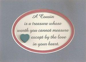 Cousins Treasure Love Friend Family Verses Poem Plaques