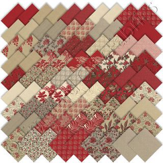 "Moda French General Esprit de Noel 2 Christmas Charm Packs 84 5"" Quilt Squares"