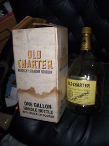 One Gallon Old Charter Bourbon Bottle in Box Empty