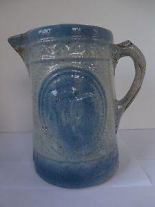 Antique Salt Glazed Stoneware Cobalt Blue Cows Cattle Grazing Milk Pitcher