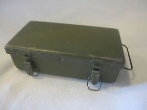 Vintage U s Army WWII First Aid Kit Jeep Medical Metal Box Orig Supplies Full
