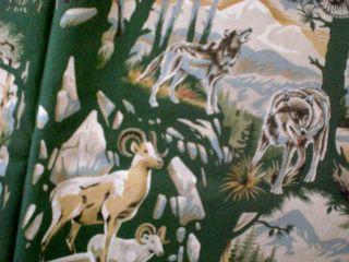 Wolf RAM Deer Bear Mountain Lion Eagle Moose Cotton Fabric