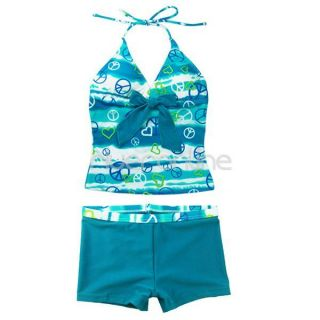 Girls Two Piece Halter Tankini Swimsuit Swimwear Bathing Suit Swim Costume 8 14