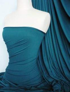 Teal Viscose Cotton Stretch Lycra Fabric Material