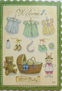 Holly Pond Hill Sweet New Baby Clothes Bunny Bear Card