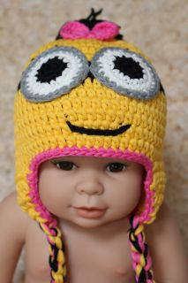 New Cute Handmade Minions Hat Baby Child Knit Crochet Hat Cap Newborn Photo Prop