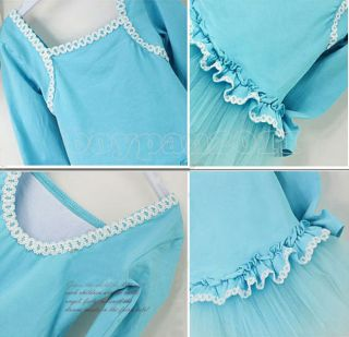 Kids Girls Party Dancing Leotard Ballet Ages 3 8Y Long Sleeve Tutu Skirt Dress