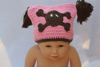 Cute Handmade Crochet Lael Viking Hat Skull Newborn Baby Knit Hat Photograph New