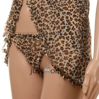 Sexy Leopard Patterns Deep V Neck Gauze Lingerie G String Set F Women Lady Hot