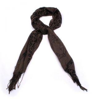 New Black Leopard Buckle Design on Brown Head Scarf Hijab Neck Wrap 175x70cm