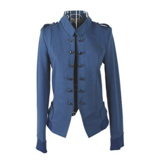 New Women's Graceful Solid Color Stand Up Stand Neck Double Breasted Jacket