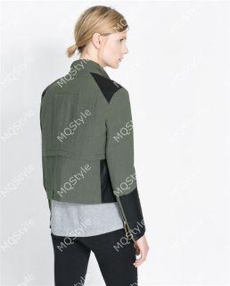 Womens European Fashion Oblique Lapel Splice Zip PU Leather Coat Jacket B3280