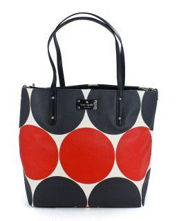 Kate Spade Leather Bon Shopper Baby Bag Deborah Dot Red Black New