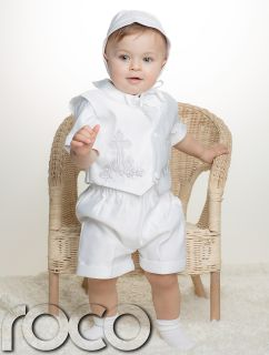 Baby Boys White Cross Short Romper Suit Set Christening Baptism Wedding