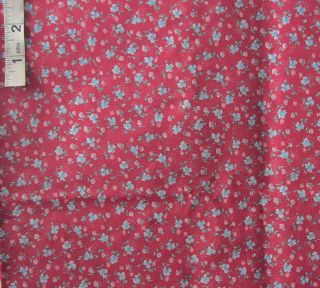 3 yds Blue Floral Novelty Print Cotton Fabric Quilt Crafts Sewing