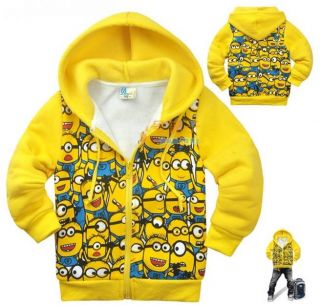 Minions Despicable Me Full Kids Boys Girls Coat Fleece Zipper Hoodies 2 8years