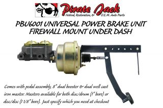 """Universal Under Dash Pedal with 8"""" Dual Power Brake Booster Conversion Kit"""