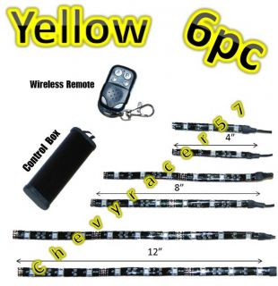 6pc Yellow Amber LED Motorcycle Chopper Frame Glow Light Flexible Neon Strip Kit
