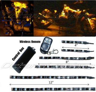 6pc Yellow Amber LED Motorcycle Chopper Frame Glow Light Flexible Neon Strip Kit