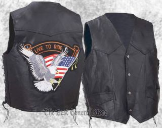 Mens Black Leather Motorcycle Biker Vest Live to Ride Patch Lace Sides Eagle