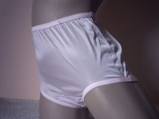 Silky Baby Pink Sheer Nylon Full Cut Panties Vintage Mushroom Gusset s 36""