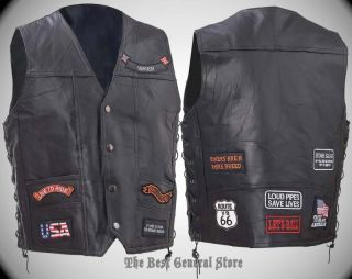 Mens Black Buffalo Leather Motorcycle Vest with 11 Biker Patches Waistcoat New