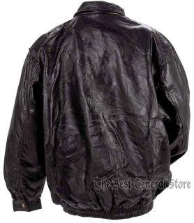 Mens Black Lambskin Leather Bomber Style Jacket Lined Coat Zipper Front Basic