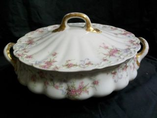 Antique Theodore Haviland Round Covered Vegetable Dish Early 1900'S