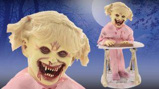 New Animated Animatronic Dead Baby Walker Zombie Laugh Creepy Halloween Prop