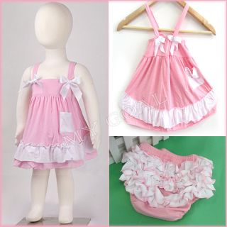 Baby Girl Kids Ruffle Strap Tops Dress Pants Bloomers Nappy Cover Outfit Clothes