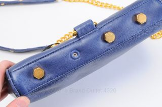 Rebecca Minkoff Navy Blue Leather Mini Mac Crossbody Clutch Purse Bag New $195