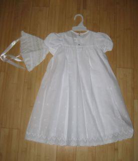 House of Hatten White Christening Gown Dress 3M Baby Girl w Bonnet