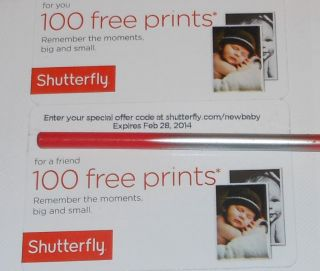 Shutterfly Gift Card Coupon 200 Free 4x6 Prints $20 Value Baby Wedding Photos